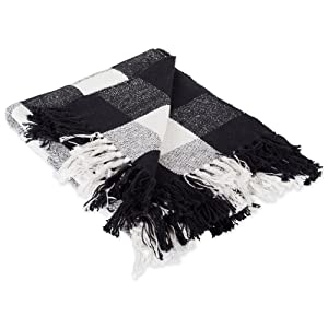 DII 100% Cotton Buffalo Check Throw for Indoor/Outdoor Use Camping Bbq's Beaches Everyday Blanket, 50 x 60, Black and White