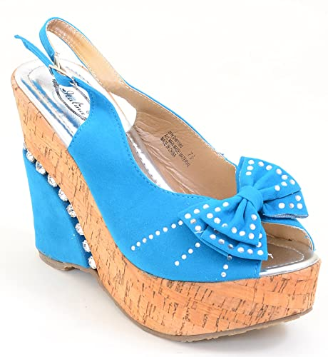 8b8a6d0f3 Image Unavailable. Image not available for. Color  Fourever Funky Blue  Rhinestone Cork Bows Platform Vegan Wedge Sandals Women s
