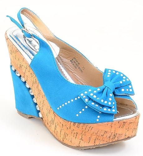 3468b4c33a2 Amazon.com | Fourever Funky Blue Rhinestone Cork Bows Platform Vegan ...