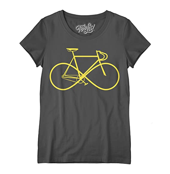 2721be0eb702 Tee Luv Infinity Bicycle T-Shirt - Women's Graphic Bike Tee Shirt (Small)