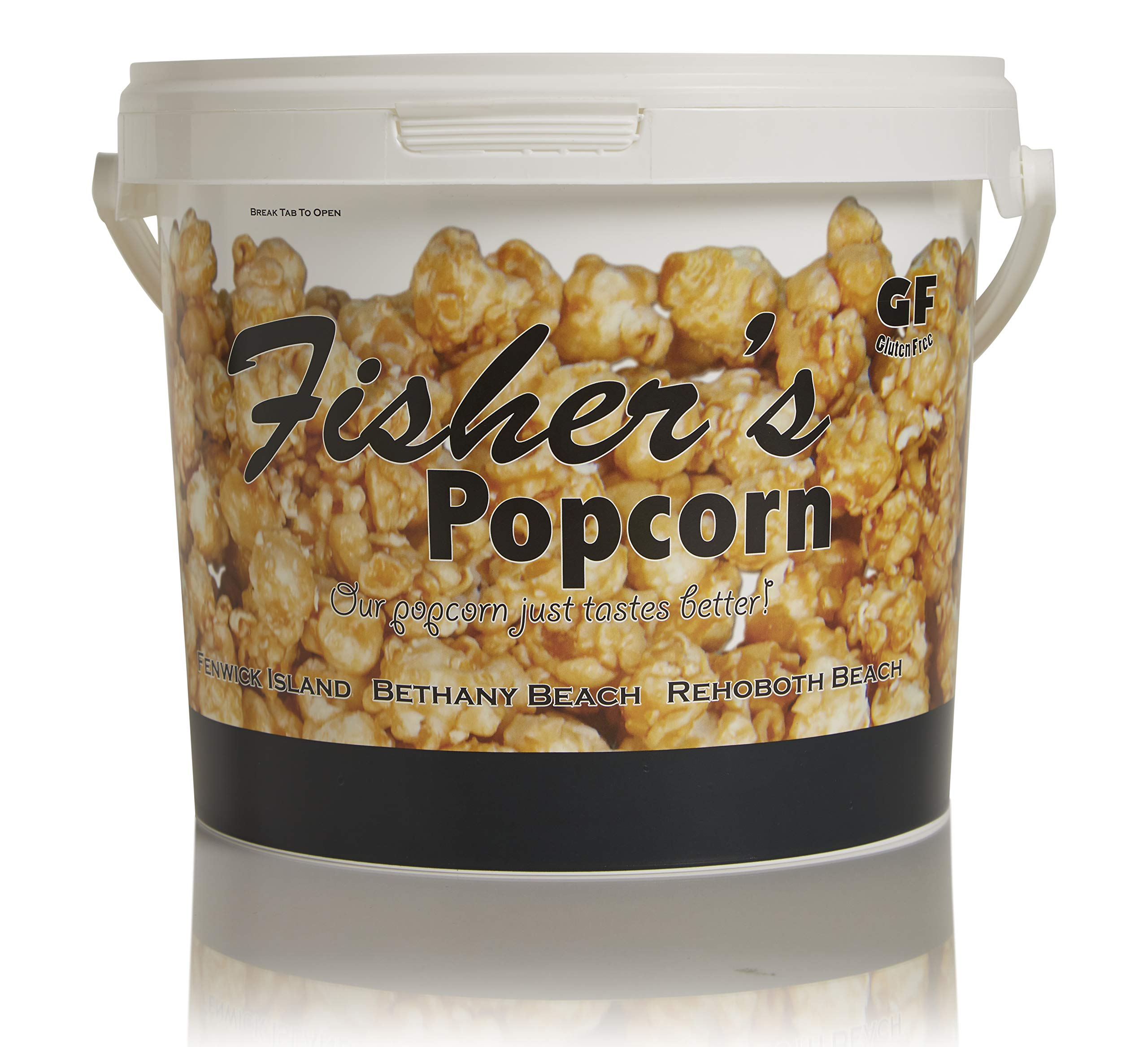 Fisher's Popcorn Caramel Popcorn, Gluten Free, 5 Simple Ingredients, Handmade, No Preservatives, No High Fructose Corn Syrup, Zero Trans Fat, 48oz Tub (2.5 Gallons) by Fisher's Popcorn