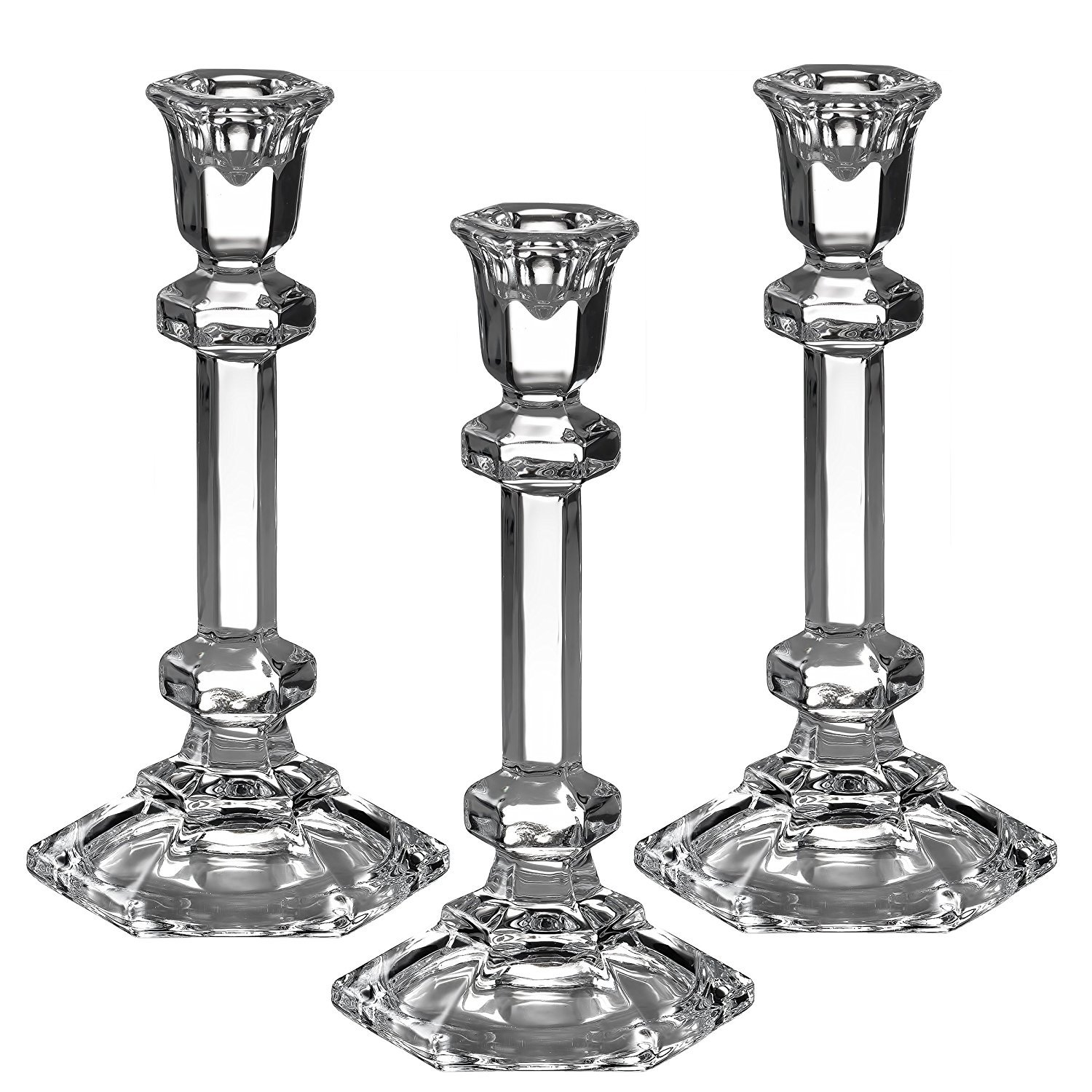 Light In The Dark 3Hexagonal shaped taper/stick Candle Holder 7.5 Inch Tall Clear LITD-TH-HAX-7.5-3