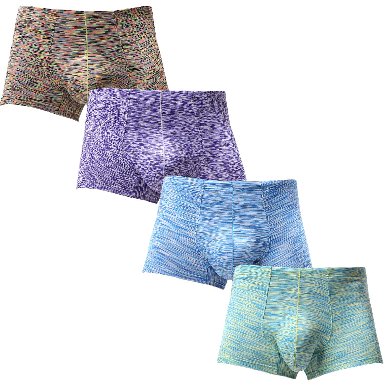 YuKaiChen Men's Trunks Underwear Bulge Enhancing Boxer Briefs Short-Leg 4-Pack02 M