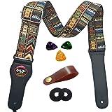 Guitar Strap Vintage Woven Style Adjustable Acoustic Electric Guitar Strap Bass Guitar Strap with Leather Ends Picks Strap Bundle Button (yellow)