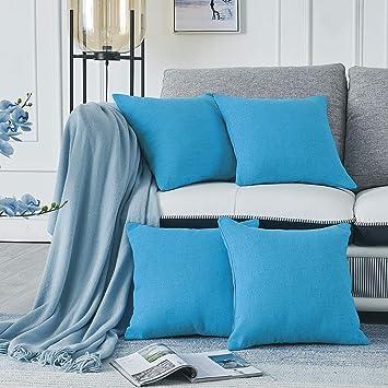 RENMEI Housse de Coussin Bleu Ciel Effet Lin Doux Rectangulaire Decoration  de Salon Chambre pour Canapé Sofa Clic Clac 45x45 CM Lot de 4