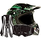 Adult Offroad Helmet Goggles Gloves Gear Combo DOT Motocross ATV Dirt Bike MX Black Green Splatter ( Large )