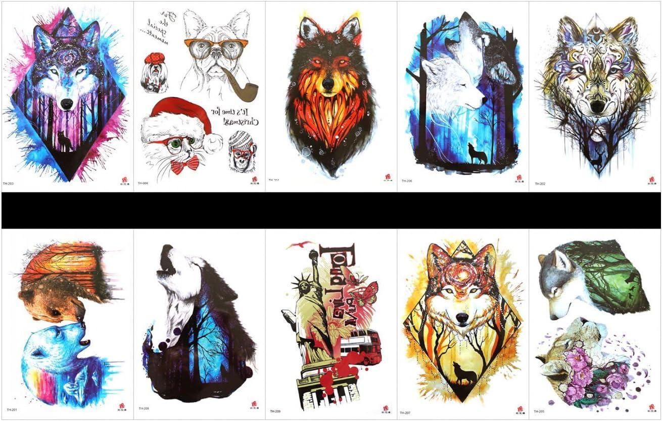 tatuajes falsos reales en 1 paquete, incluyendo leopardo, estatua ...