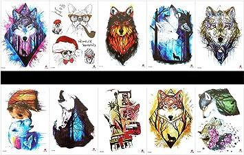 tatuajes falsos reales en 1 paquete, incluyendo leopardo, estatua de ...