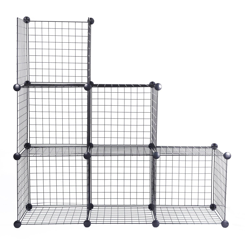 Amazon.com: JS HANGER Black Wire Storage Cubes, Set of 6, Clothes ...