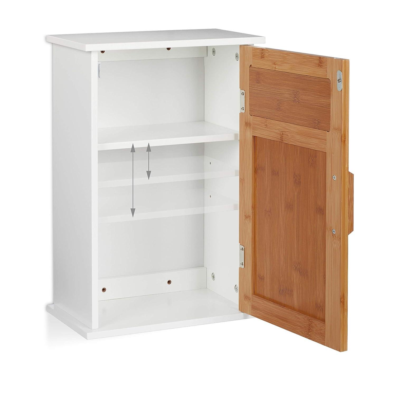 Dos estantes MDF una Puerta Blanco y marr/ón 51,5 x 35 x 20 cm bamb/ú Relaxdays Armario de ba/ño