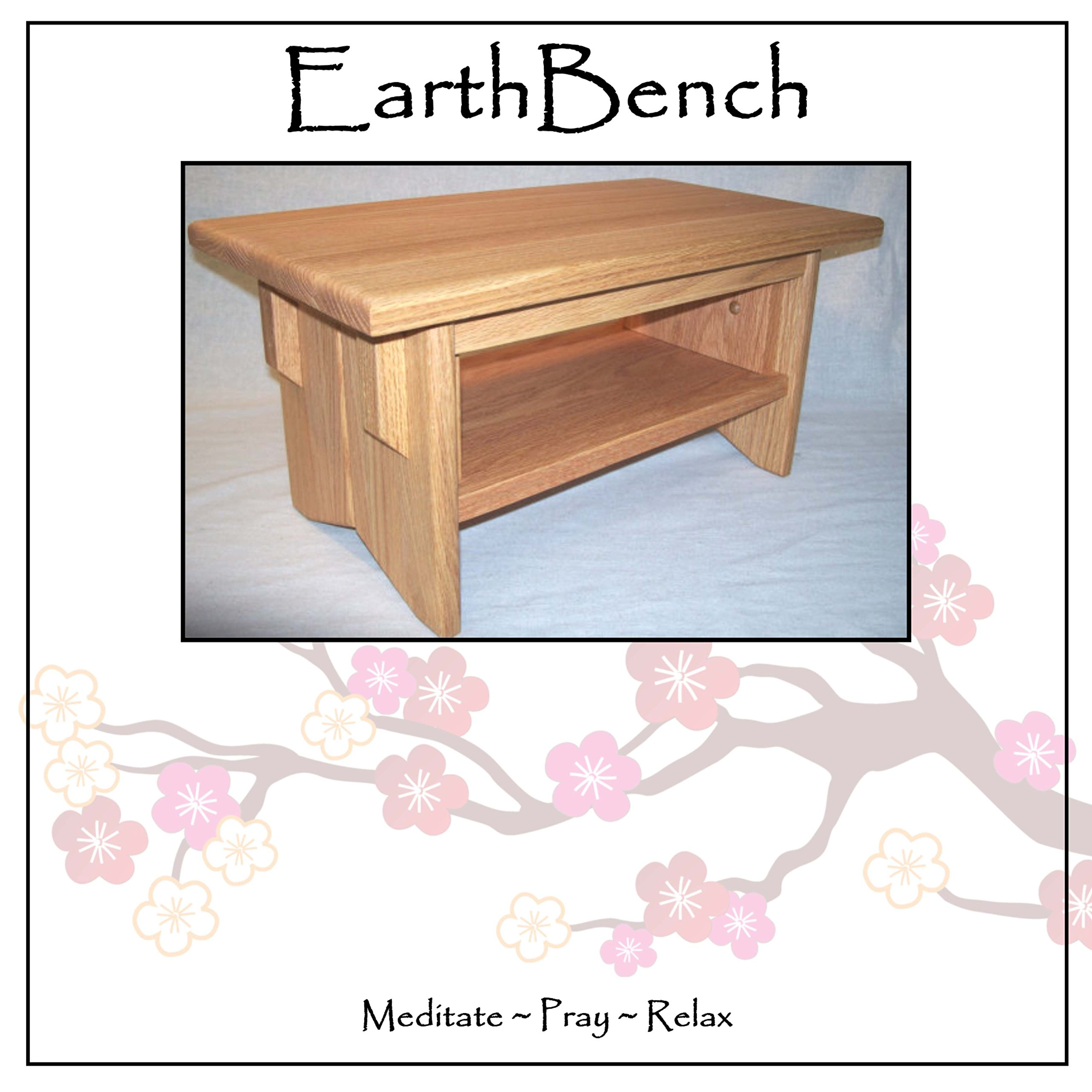 Deluxe Personal Altar with Shelf - EarthBench - Solid RED OAK Construction for Meditation, Prayer, or Contemplative Studies.