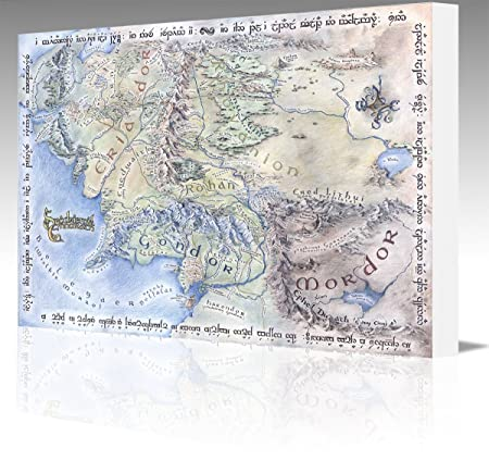 Middle Earth Map Large.Middle Earth Style Map Large 20x12 Inch Gallery Framed Canvas Art