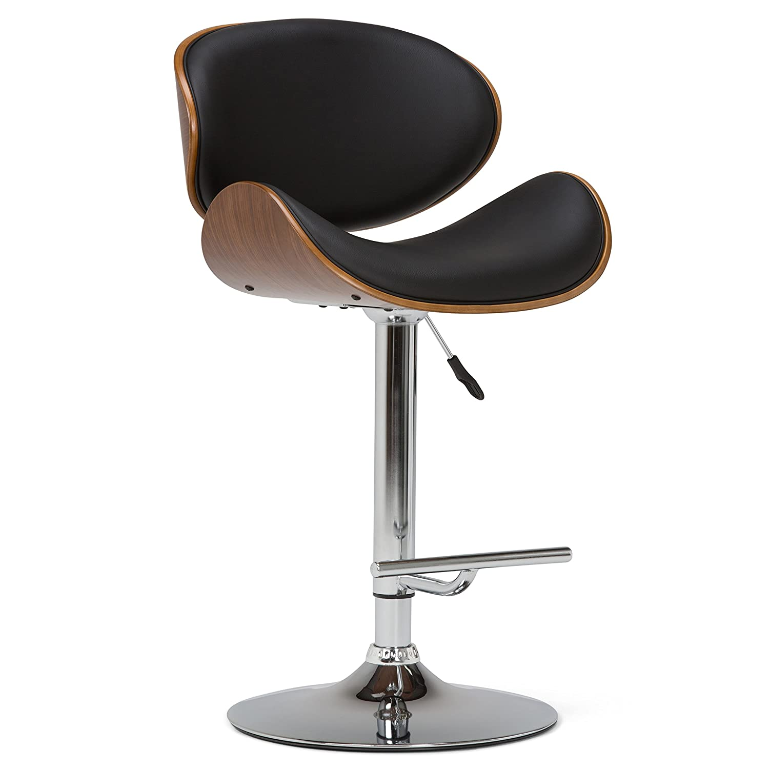 Enjoyable Simpli Home Axcmarn Bl Marana Mid Century Modern Bentwood Adjustable Height Gas Lift Bar Stool In Black Faux Leather Dailytribune Chair Design For Home Dailytribuneorg