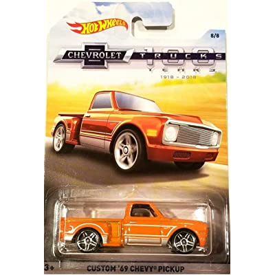 HOT WHEELS 100 YEARS CHEVROLET TRUCKS ORANGE CUSTOM '69 CHEVY PICKUP DIE-CAST: Toys & Games