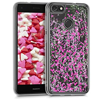 kwmobile Funda para Huawei Y6 Pro (2017) / Enjoy 7 - Carcasa Protectora de [TPU] para móvil - Cover [Trasero] en [Rosa Fucsia/Transparente]