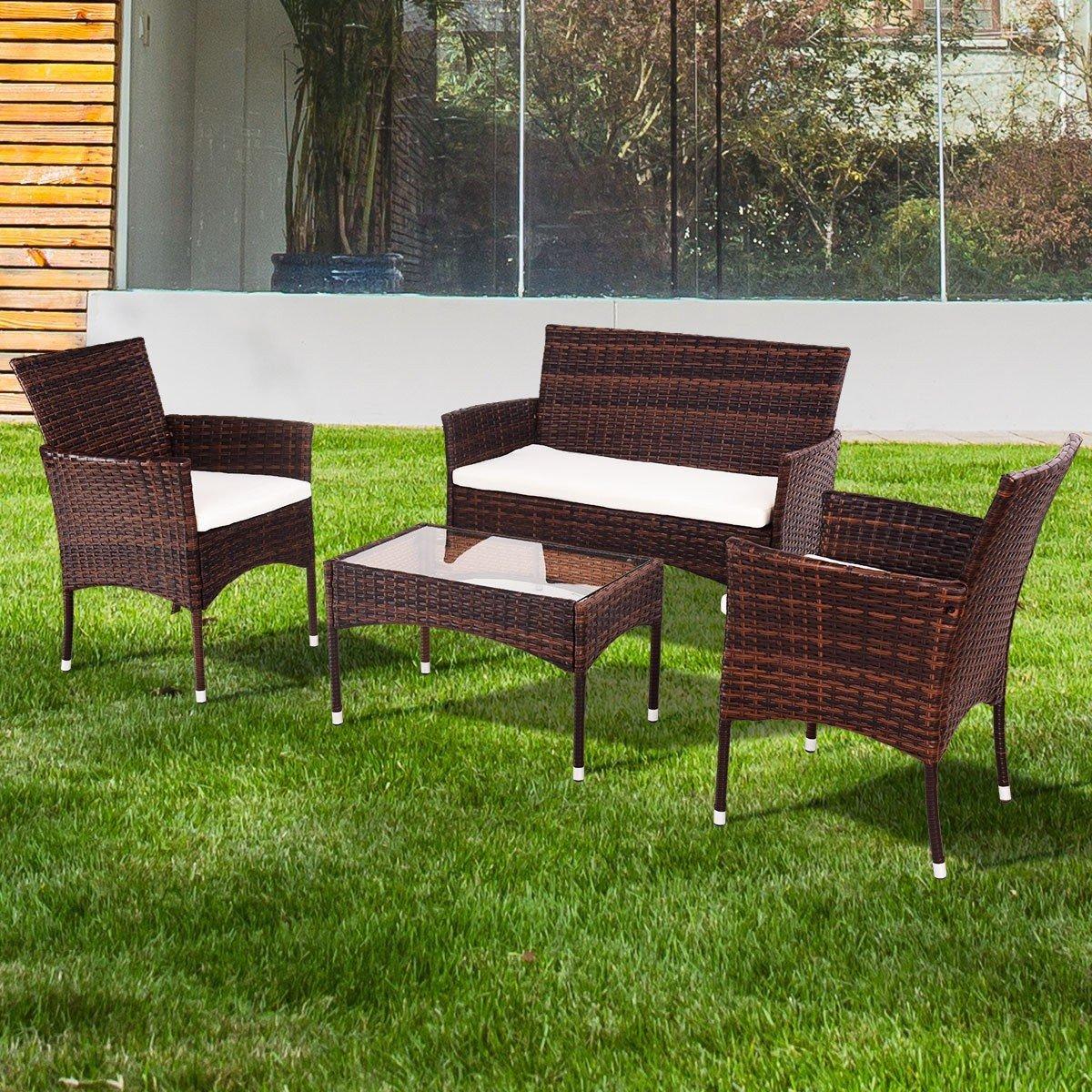 EnjoyShop 4 Pcs PE Rattan Wicker Table Shelf Sofa Furniture Set with Cushion Dining Garden Picnic Outdoor by EnjoyShop (Image #3)