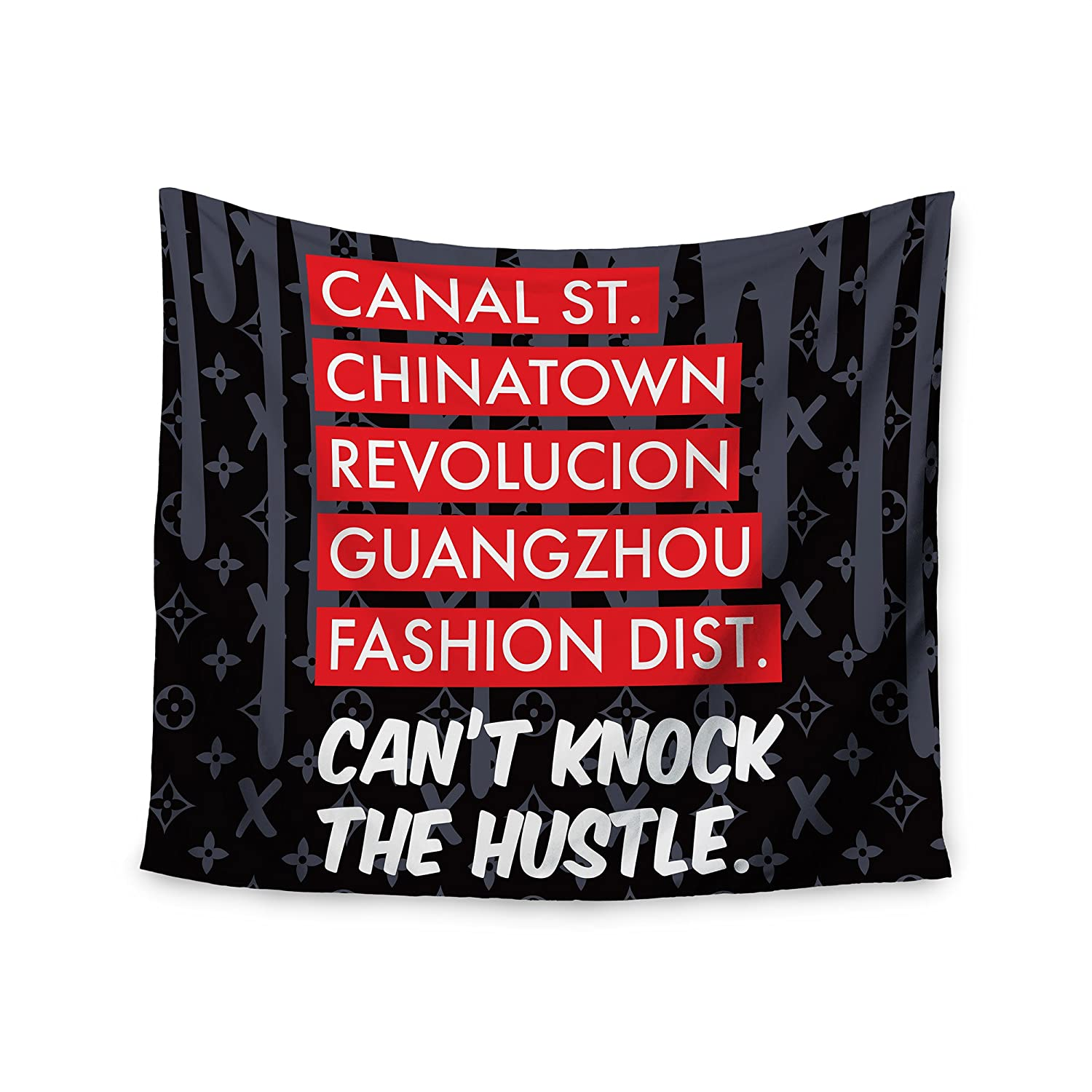 68 x 80 KESS InHouse Just L Cant Knock The Hustle Blk Red Urban Wall Tapestry