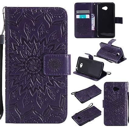 pinlu Flip Funda de Cuero para LG K5 Carcasa con Función de Stent y Ranuras con Patrón de Girasol Cover (Púrpura)