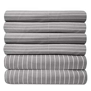 Queen Sheets Pinstripe Gray - 6 Piece 1500 Thread Count Fine Brushed Microfiber Deep Pocket Queen Sheet Set Bedding - 2 Extra Pillow Cases, Great Value, Queen, Pinstripe Gray