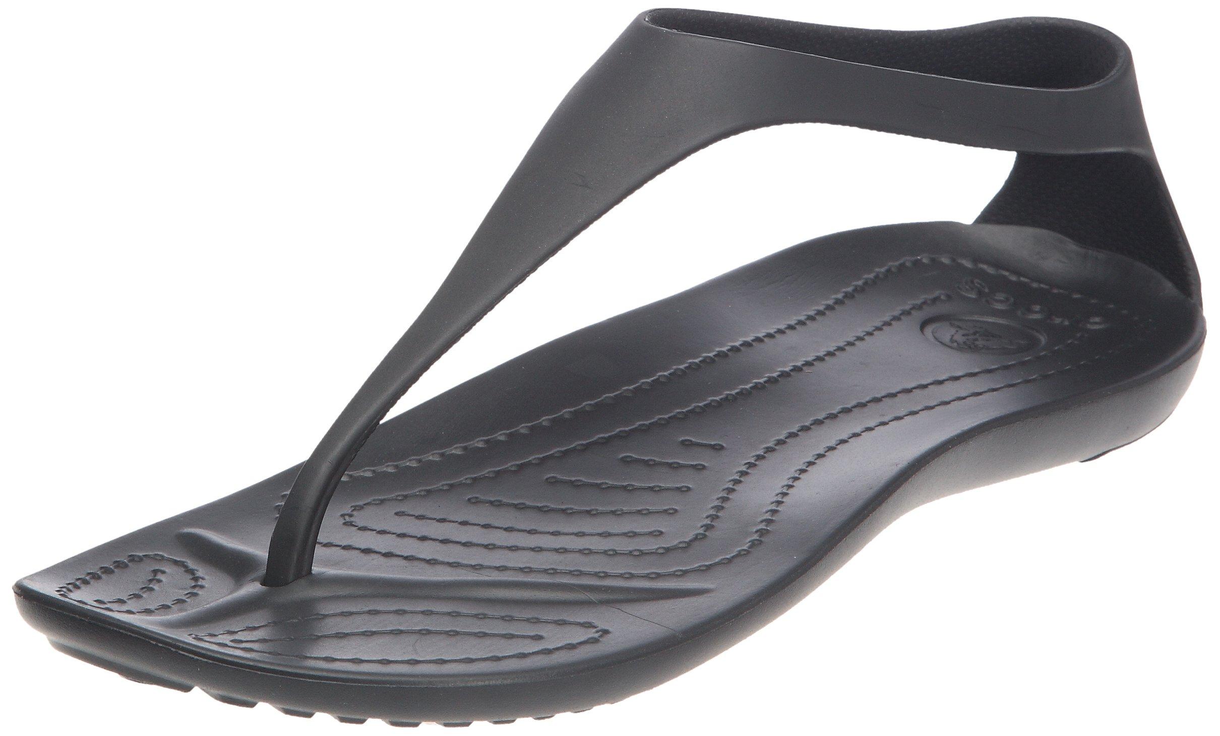 crocs Women's Sexi Flip,Black/Black,8 US