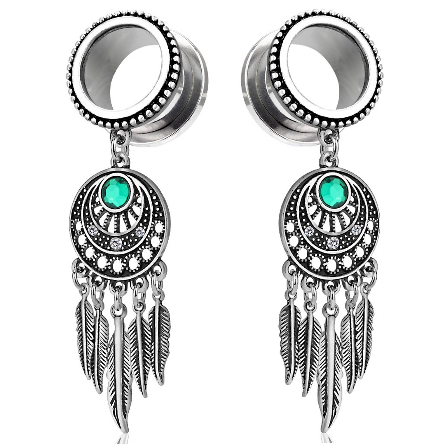 Pair of Tribal Style Dreamcatcher with Feathers Dangle Ear Plugs Tunnels Steel/Brass (1/2 Inch (12mm))