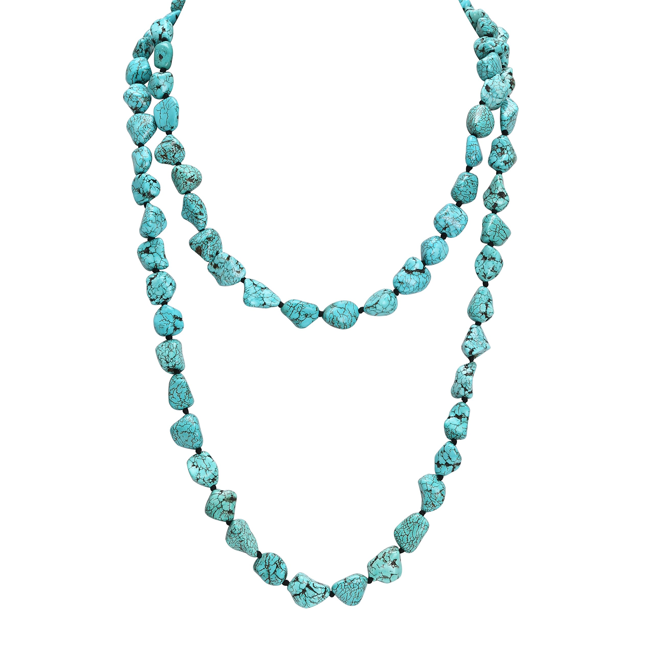 POTESSA Turquoise Beads Endless Necklace Long Knotted Stone Multi-Strand Layer Necklaces Handmade Jewelry 47''
