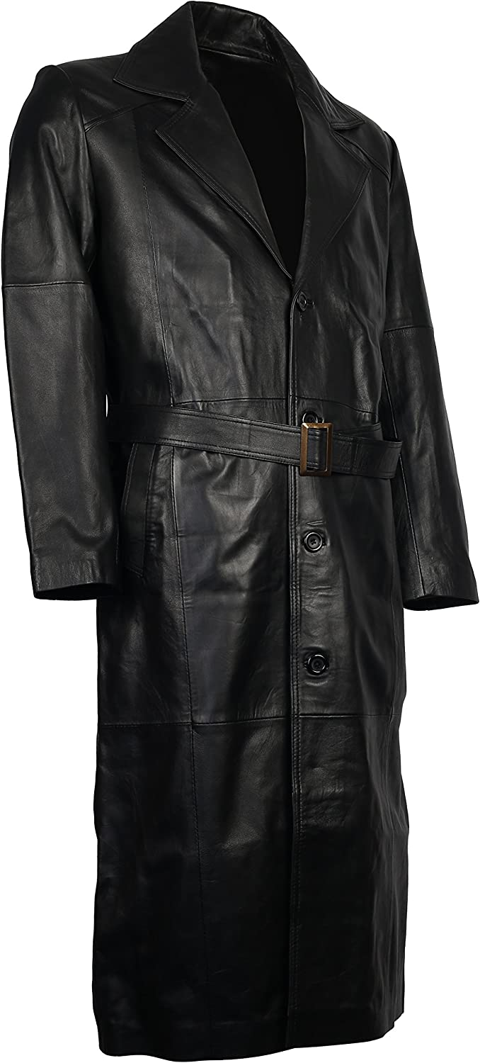 Herts Leather Stylish Buckle Fastening HQ Vintage Style Mens Black Leather Coat