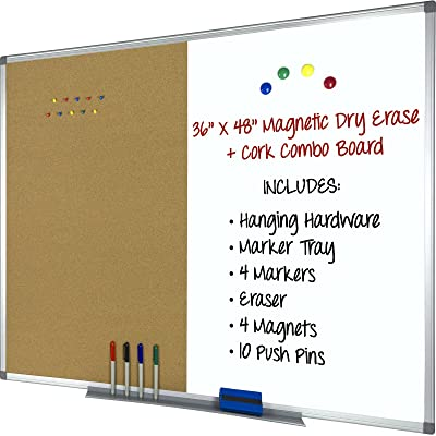 Magnetic Dry Erase, Cork Combo Board 36x48, Aluminum Frame with 4 ...