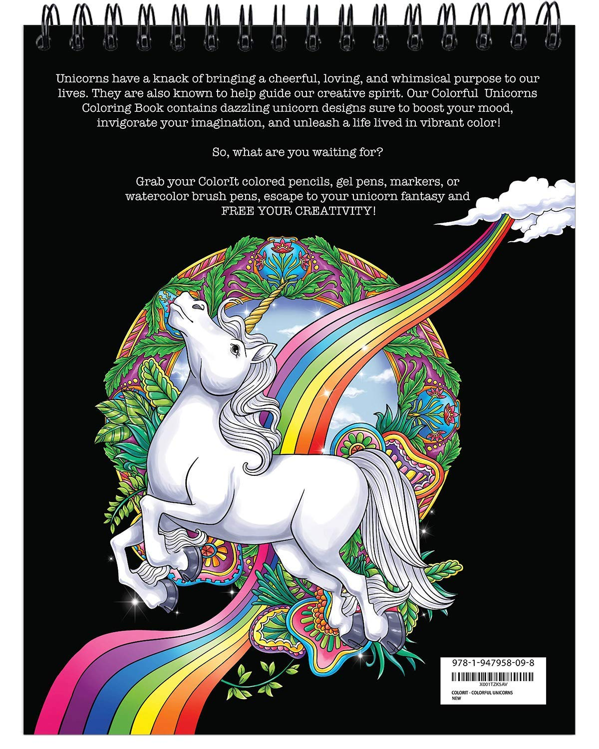 ColorIt Colorful Unicorns Adult Coloring Book - 50 Single-Sided Pages, Thick Smooth Paper, Lay Flat Hardback Covers… 10