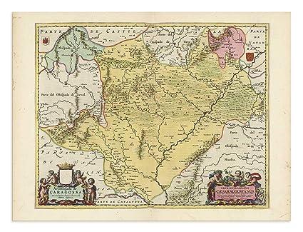Zaragoza Map Of Spain.Amazon Com The Blaeu Prints Zaragoza Spain Aragon Historical