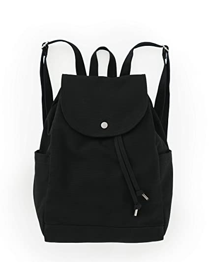 dea7414b507c BAGGU Canvas Backpack, Durable and Stylish Simple Canvas Satchel for Daily  Essentials, Black