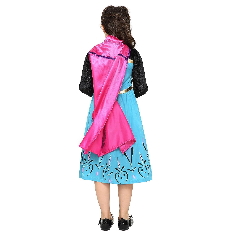 Katara Disfraz de Elsa Princesa de las Nieves vestido de coronacion negro- azul con capa rosa - traje de carnaval para niñas de 8-10 años: Amazon.es: ...