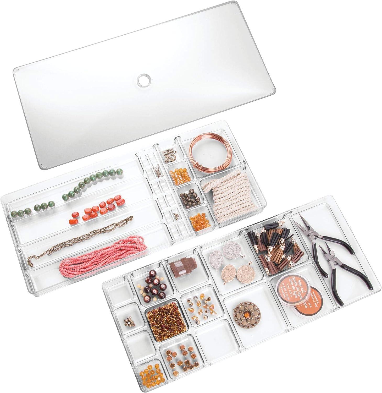 InterDesign Caja-alhajero de 2 niveles pulseras broches Claro Organizador de armario y caj/ón para collares accesorios para el cabello aros pendientes Linus grande
