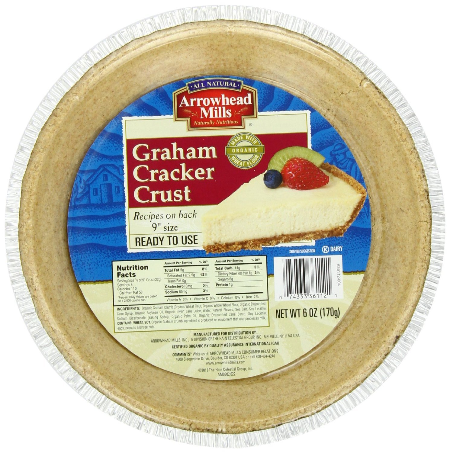 ARROWHEAD MILLS PIE CRUST GRAHAM CRCKR, 6 OZ