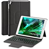 iPad Keyboard Case for Pro 9.7/New iPad 2017&2018,Air 2/Air,Ottertooth LED 7 Colors Backlit Wireless Bluetooth Keyboard, Magnetic Charging,Ultra Lightweight Auto Sleep/Wake Smartcover