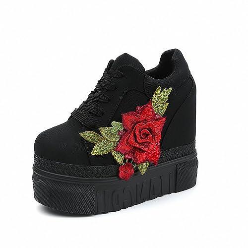 8f8e4afa12b6e Smakke New Women Vulcanize Shoes Lace up High Heel Wedge Platform ...