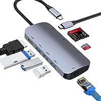 ABLEWE HUB USB C, 8 en 1 Adaptador USB C a hdmi 4K,USB 3.0 3 Puertos,Lector Tarjetas SD/TF,Puerto Gigabit Ethernet,87…