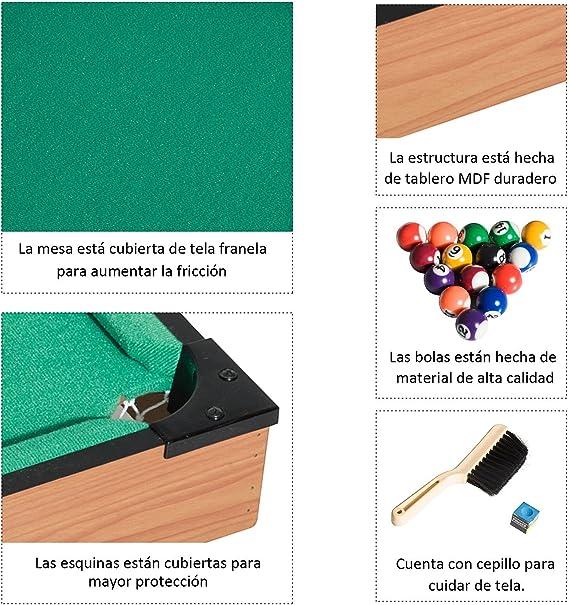 HOMCOM Mesa de Billar con Accesorios Juego de Billar de Madera ...