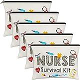Xuniea 5 Pieces Nurse Survival Kit Makeup Bags, Funny Travel Cosmetic Pouch Nurse Gift for Women, Nursing Student, Nurse Prac