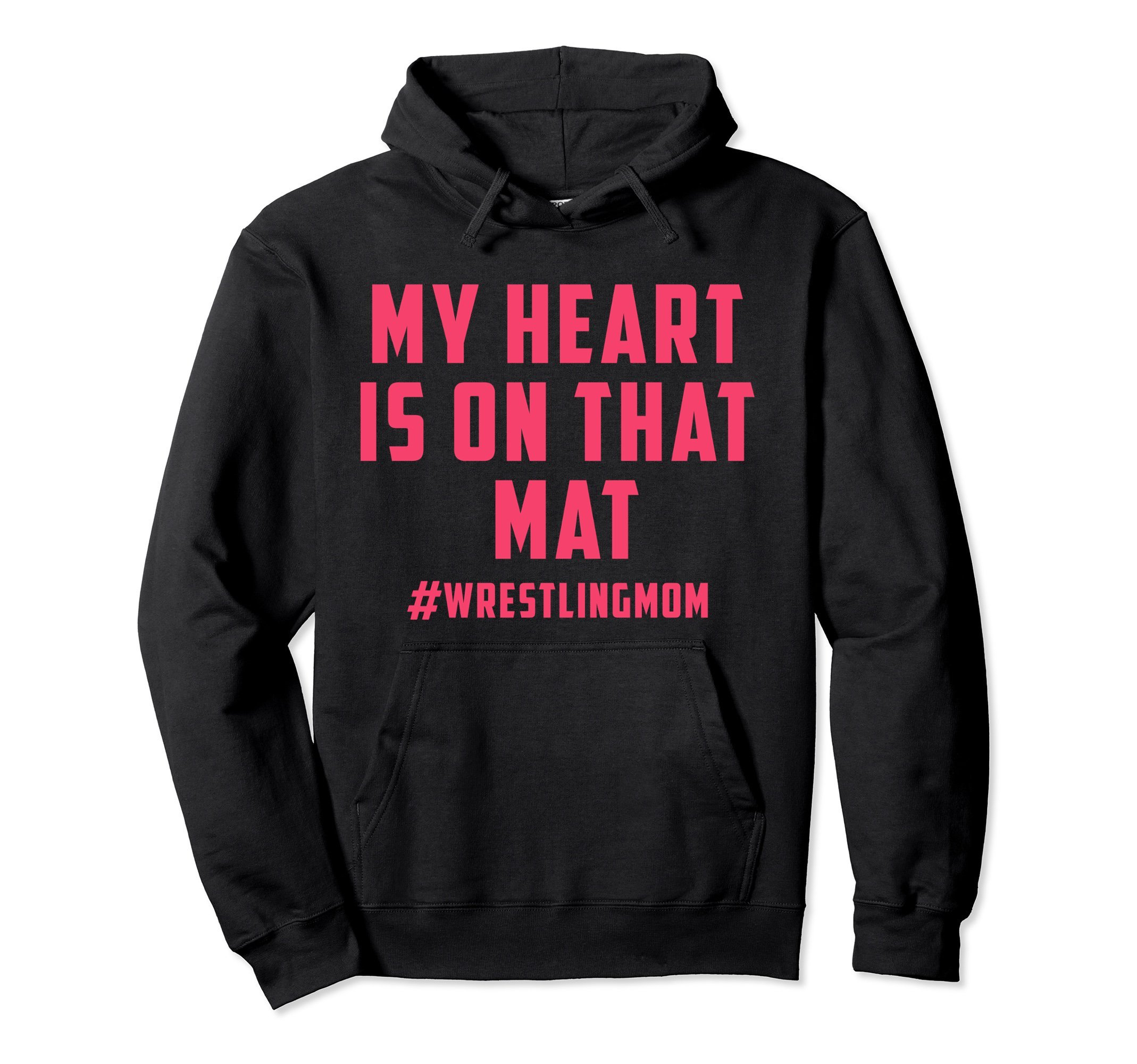 Unisex My Heart Is On That Mat Wrestling Mom Hoodie Large Black