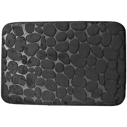 Promobo Tapis De Salle De Bain Toucher Soft Cosy Decor Galets 40 X 60cm Noir