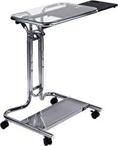 Calico Designs 51201 Laptop Cart with Mouse Tray in Chrome and Clear Glass