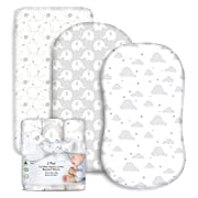 3 Pack Organic Cotton Fitted Bassinet Sheets for Boy or Girl, Gray Elephant, Cloud and Bubble