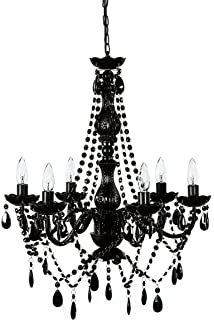Jet black chandelier crystal lighting chandeliers 37x38 amazon the original gypsy color 6 light large black chandelier h27 w23 black metal mozeypictures Image collections
