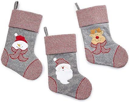 HEITMANN DECO Navidad - Set de Tres Calcetines Decorativos en Fieltro Gris, Rojo y Blanco