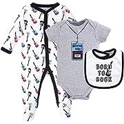 Little Treasure Kid's Multi Piece Clothing Set Pants, Born To Rock 3 Piece Set, 0-3 Months (3M)