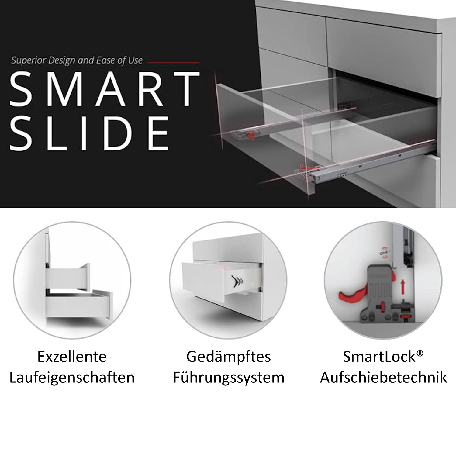 1 par de SO-TECH/® Smart Slide Carril-gu/ías con Soft-Close 30 Kg Longitud nominal= 300 mm para caj/ónes de madera