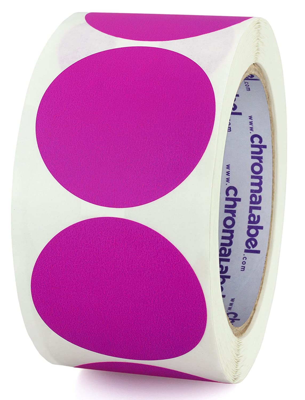 Metallic Silver ChromaLabel 2 Inch Round Permanent Color-Code Dot Stickers 500 per Roll