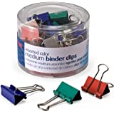 Officemate Medium Binder Clips, Assorted Colors, 24 Clips per Tub (31029)