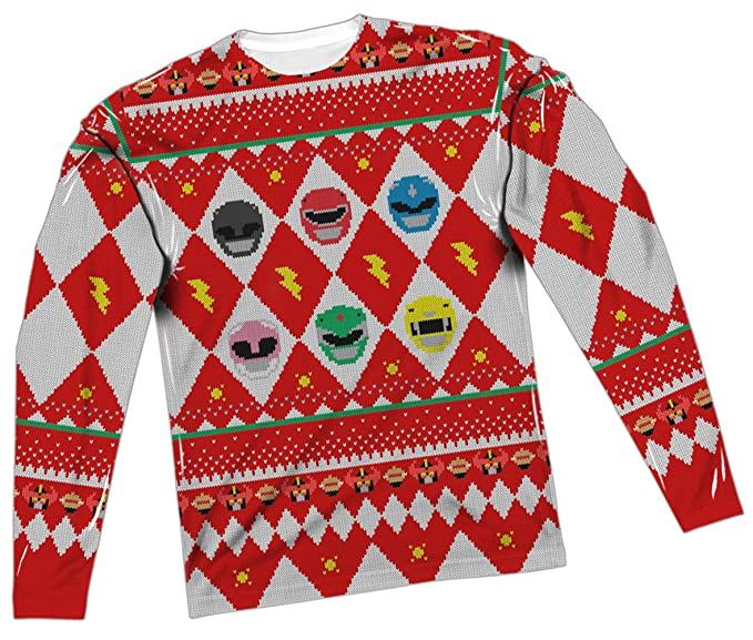 Amazoncom Ugly Christmas Sweater Power Rangers All Over Long